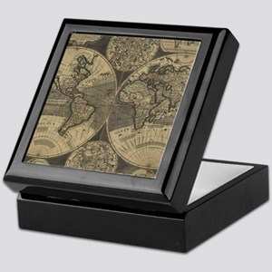 Vintage Map of The World (1702) 3 Keepsake Box